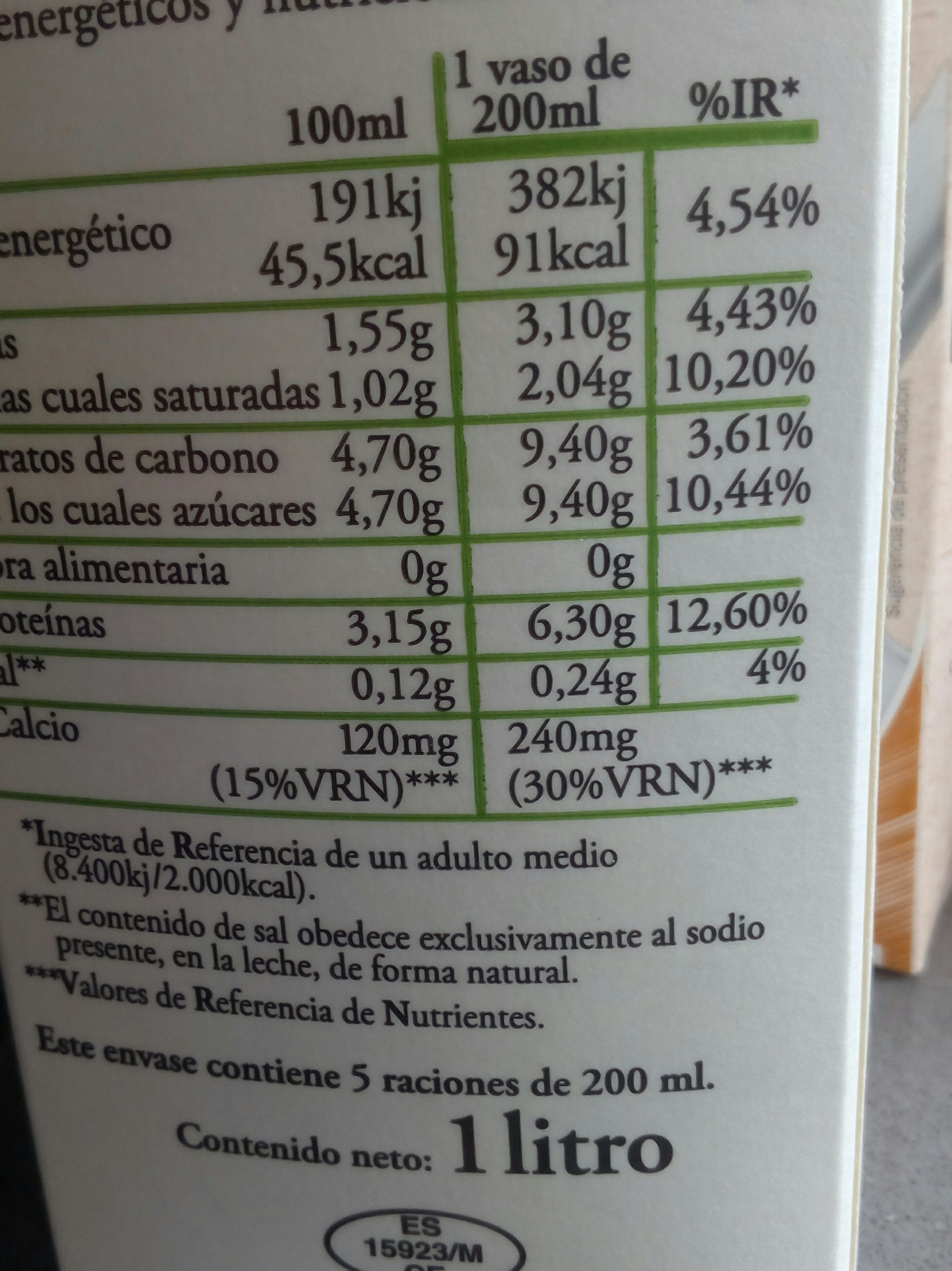Leche fresca semidesnatada pasteurizada - Ingredientes