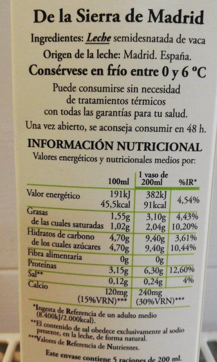Leche fresca semidesnatada pasteurizada - Información nutricional