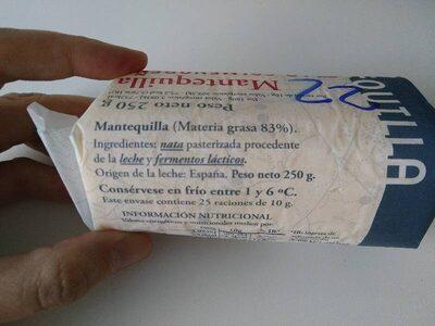 Mantequilla - Ingrédients