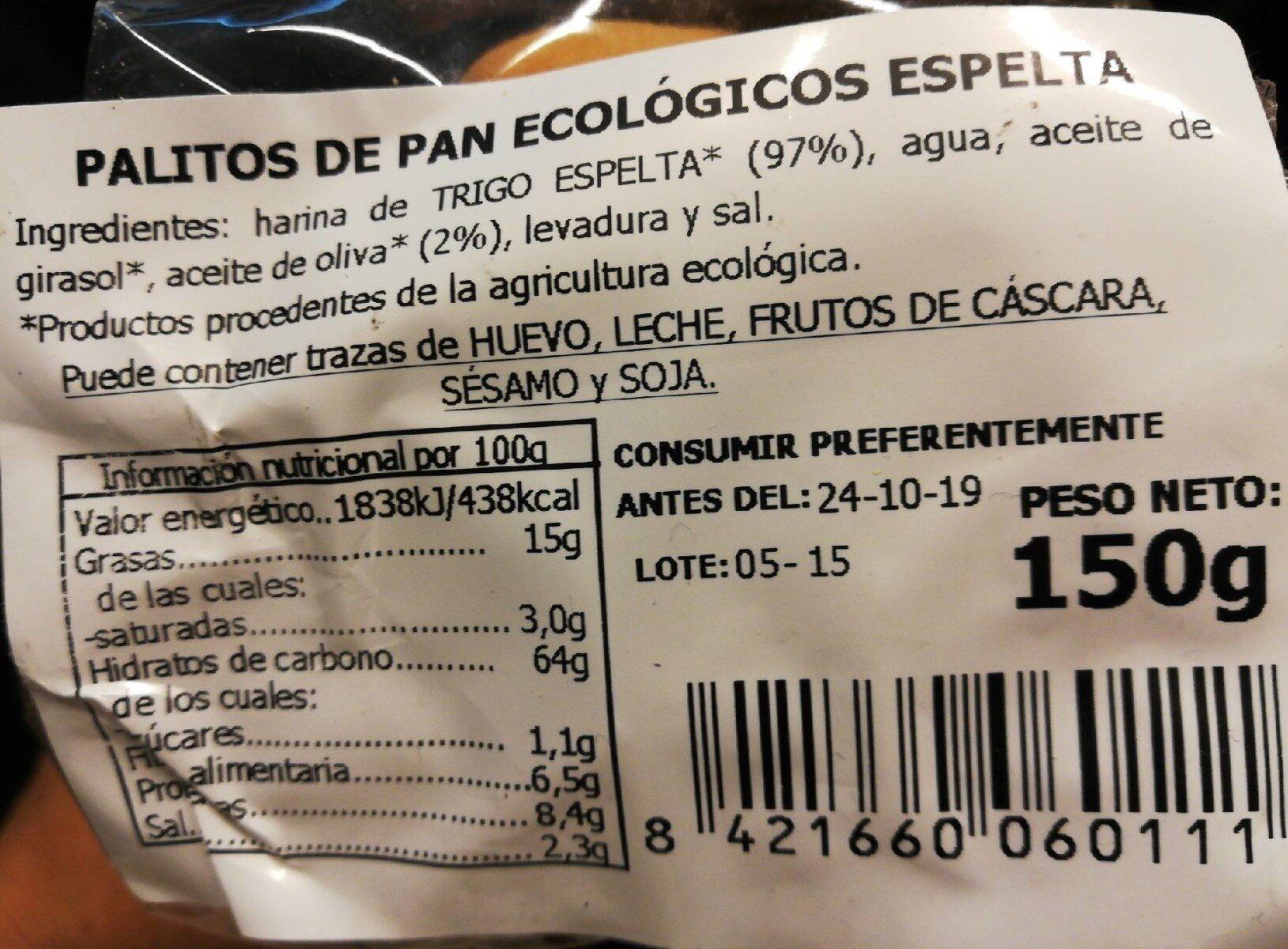 Palitos de pan de espelta ecológicos - Voedigswaarden
