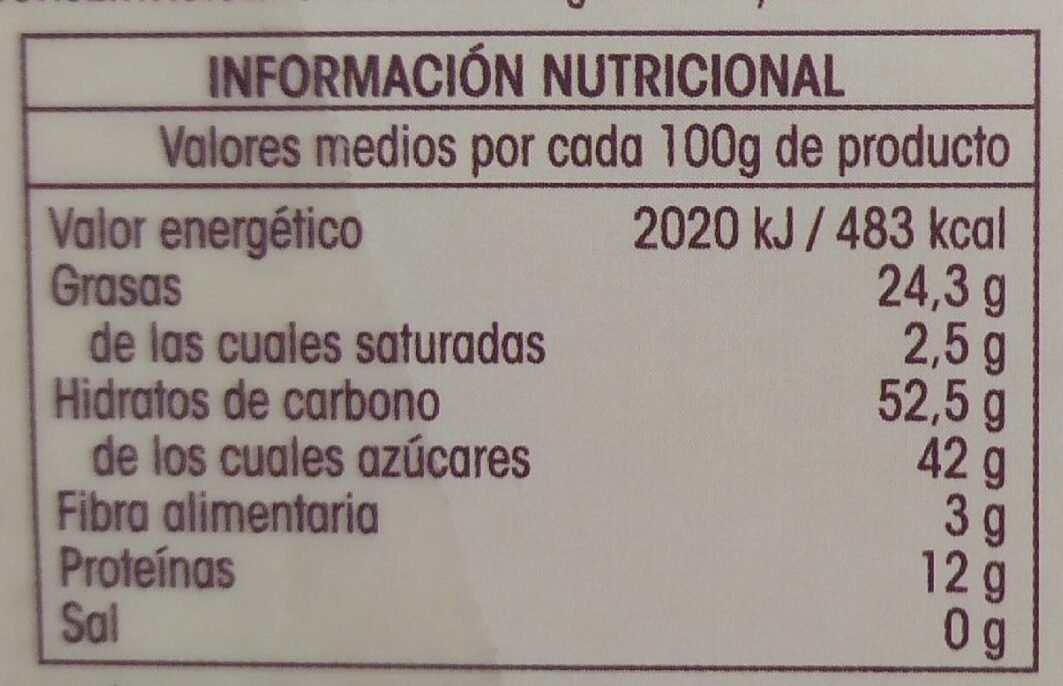 Turrón yema tostada - Informations nutritionnelles - es
