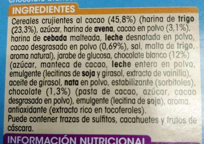 Barritas de céréales con Chocolate Blanco - Ingredientes - fr