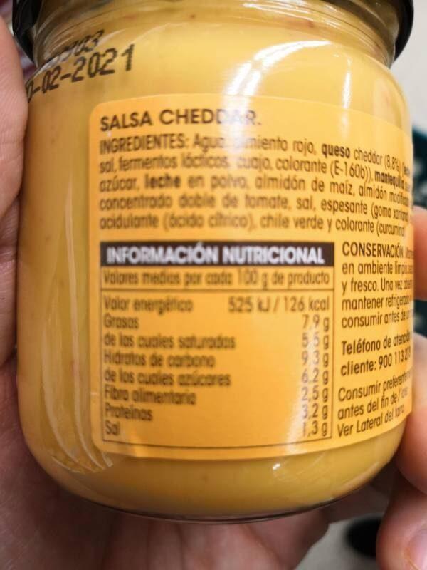 Salsa Cheddar - Voedigswaarden