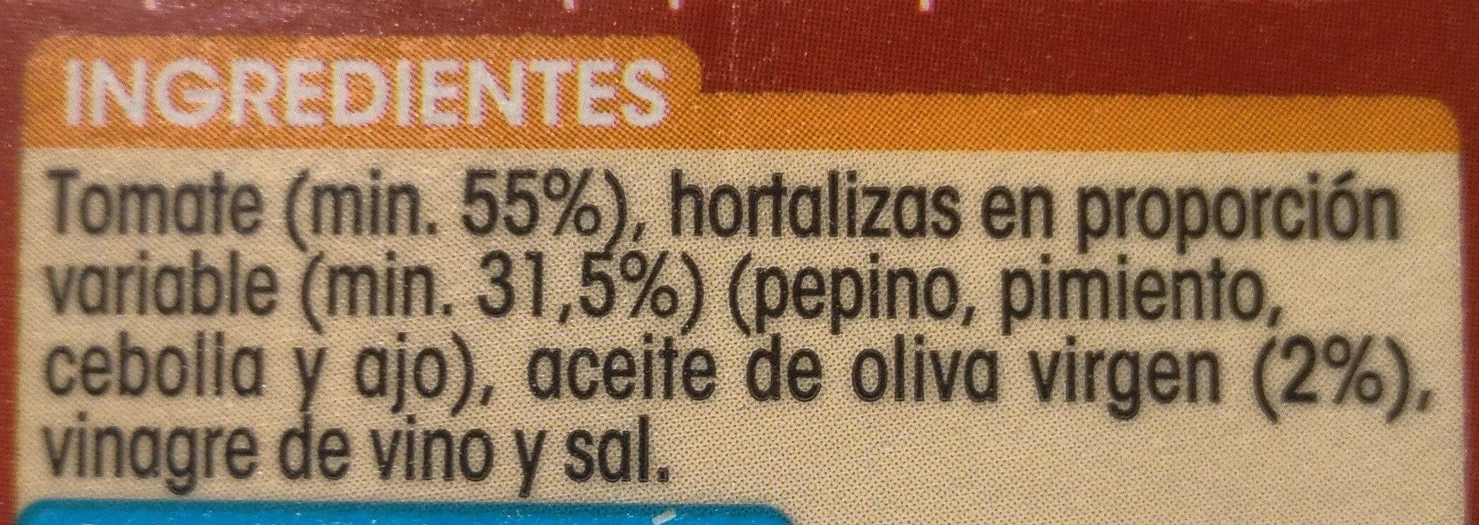 Gazpacho alipende - Ingredientes - es