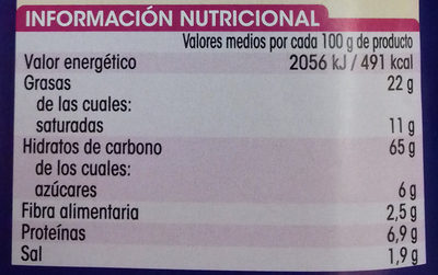 Galletas saladas - Información nutricional - es