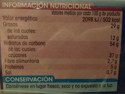 Mini discos al cacao - Información nutricional - es
