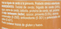 Paté a la Pimienta - Ingrédients - es