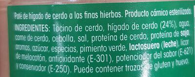 Paté a las finas hierbas - Ingrediënten