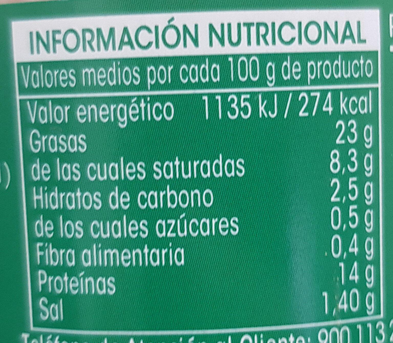 Paté a las finas hierbas - Informations nutritionnelles - es