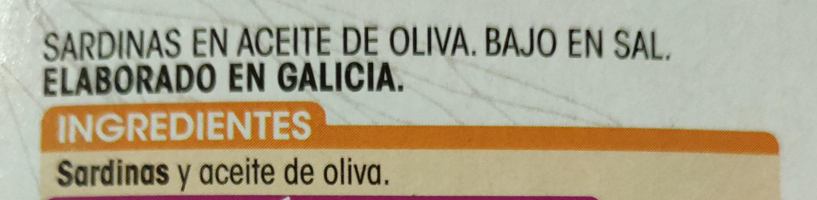Sardinas en aceite de oliva bajo en sal - Ingrédients - es