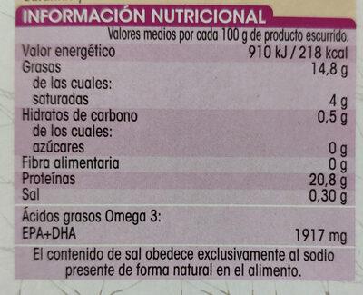 Sardinas en aceite de oliva bajo en sal - Informations nutritionnelles - es