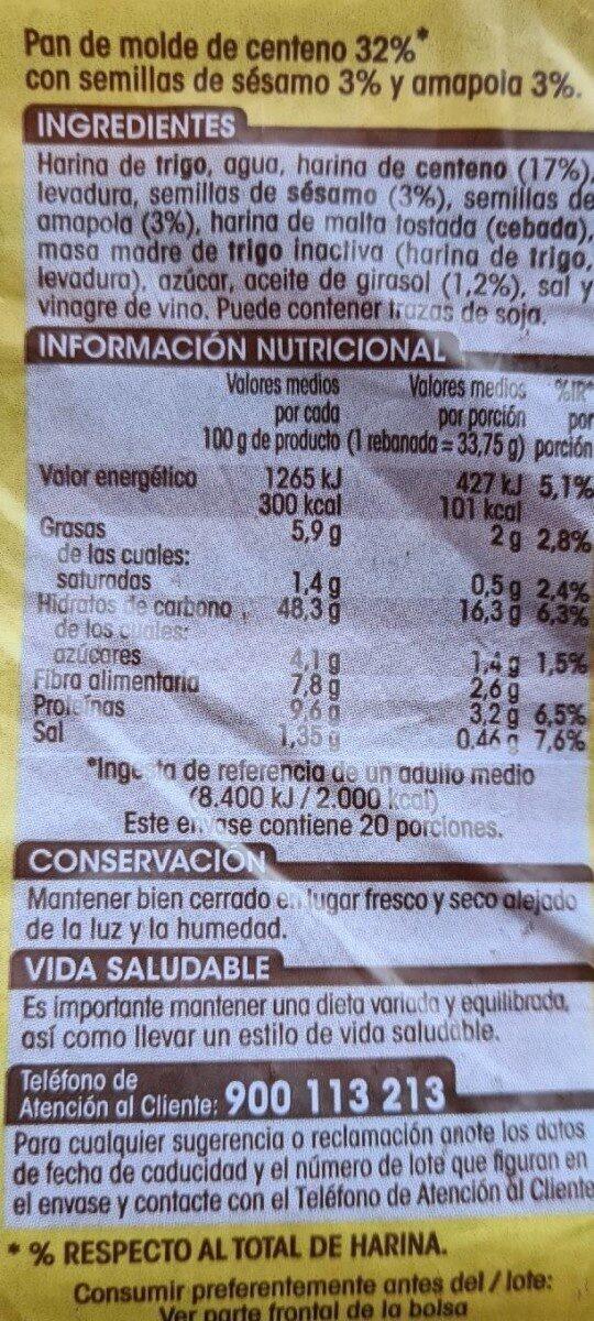 Pan Centeno17% - Informations nutritionnelles - es