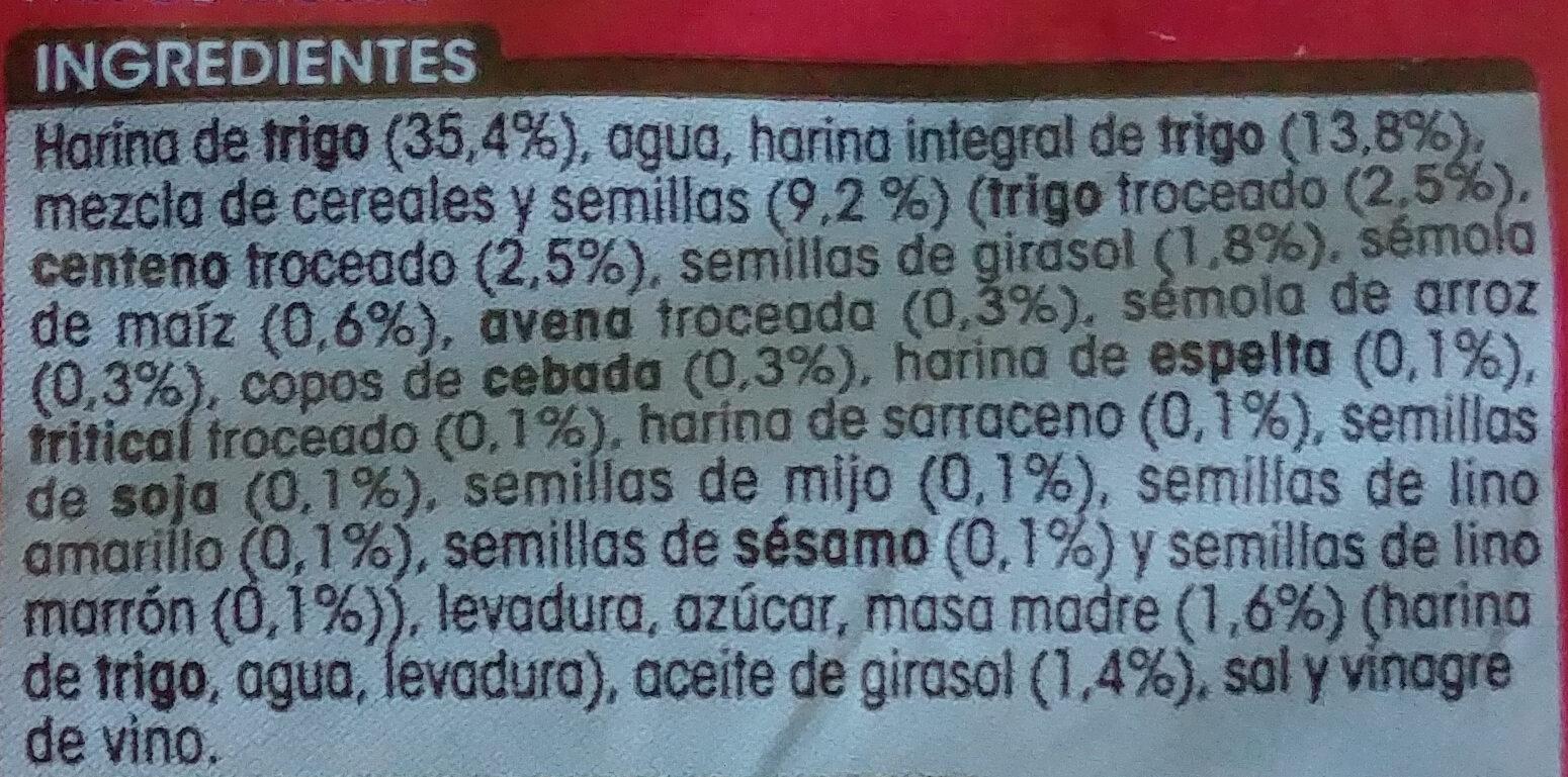 Pan 15 cereales y semillas - Ingredientes