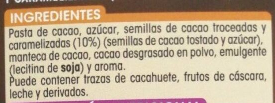 Chocolate negro 72% cacao - Ingredients - es