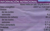 Patata frita paja - Información nutricional