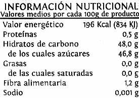 Mermelada fresa - Información nutricional - es
