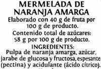 Mermelada naranja amarga - Ingredientes