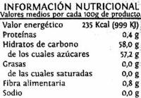 Mermelada naranja amarga - Información nutricional