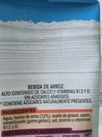 Bebida Arroz - Ingredienti - es