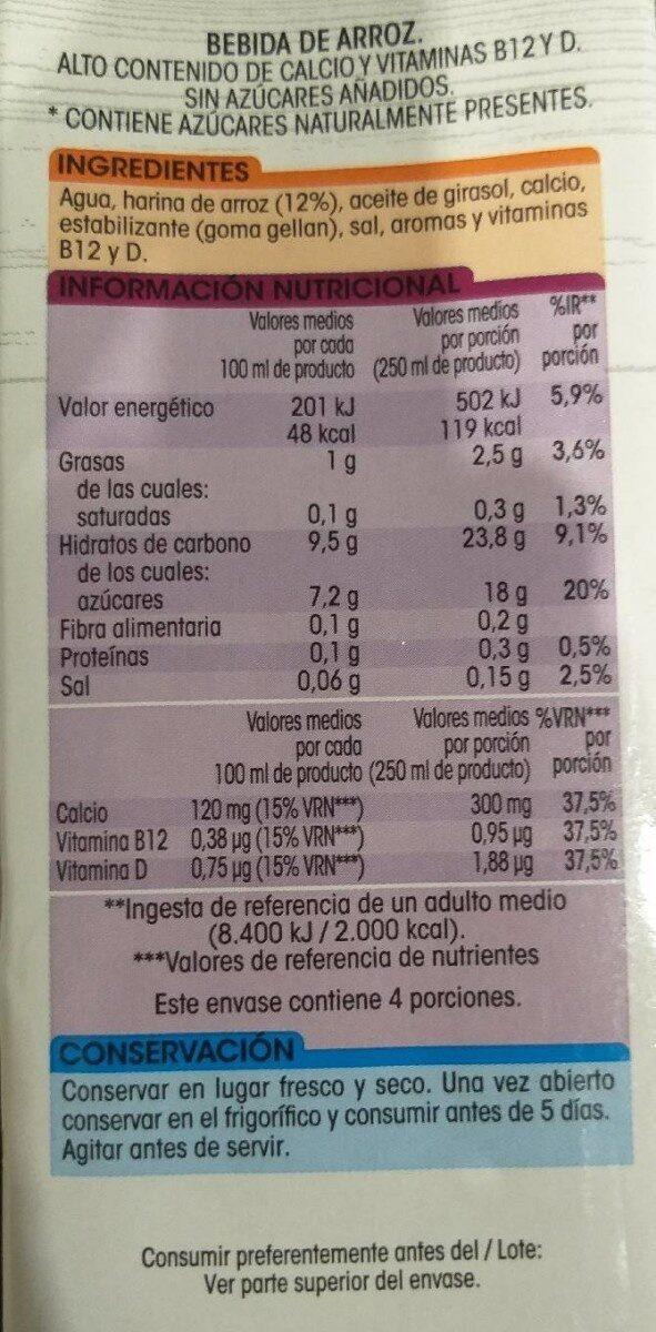 Bebida Arroz - Valori nutrizionali - es
