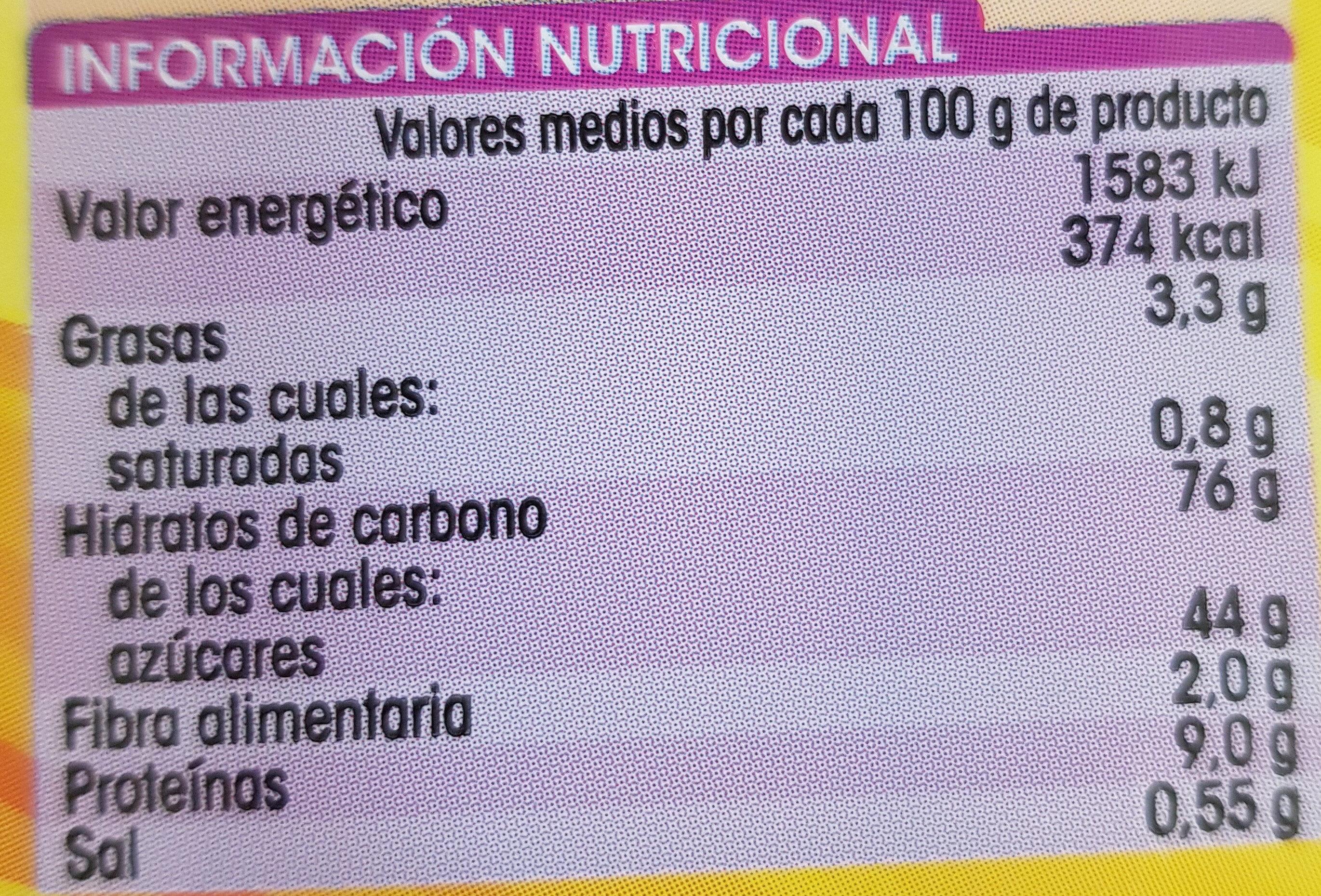 Bizcocho al huevo - Información nutricional