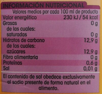 Zumo de piña y uva - Información nutricional