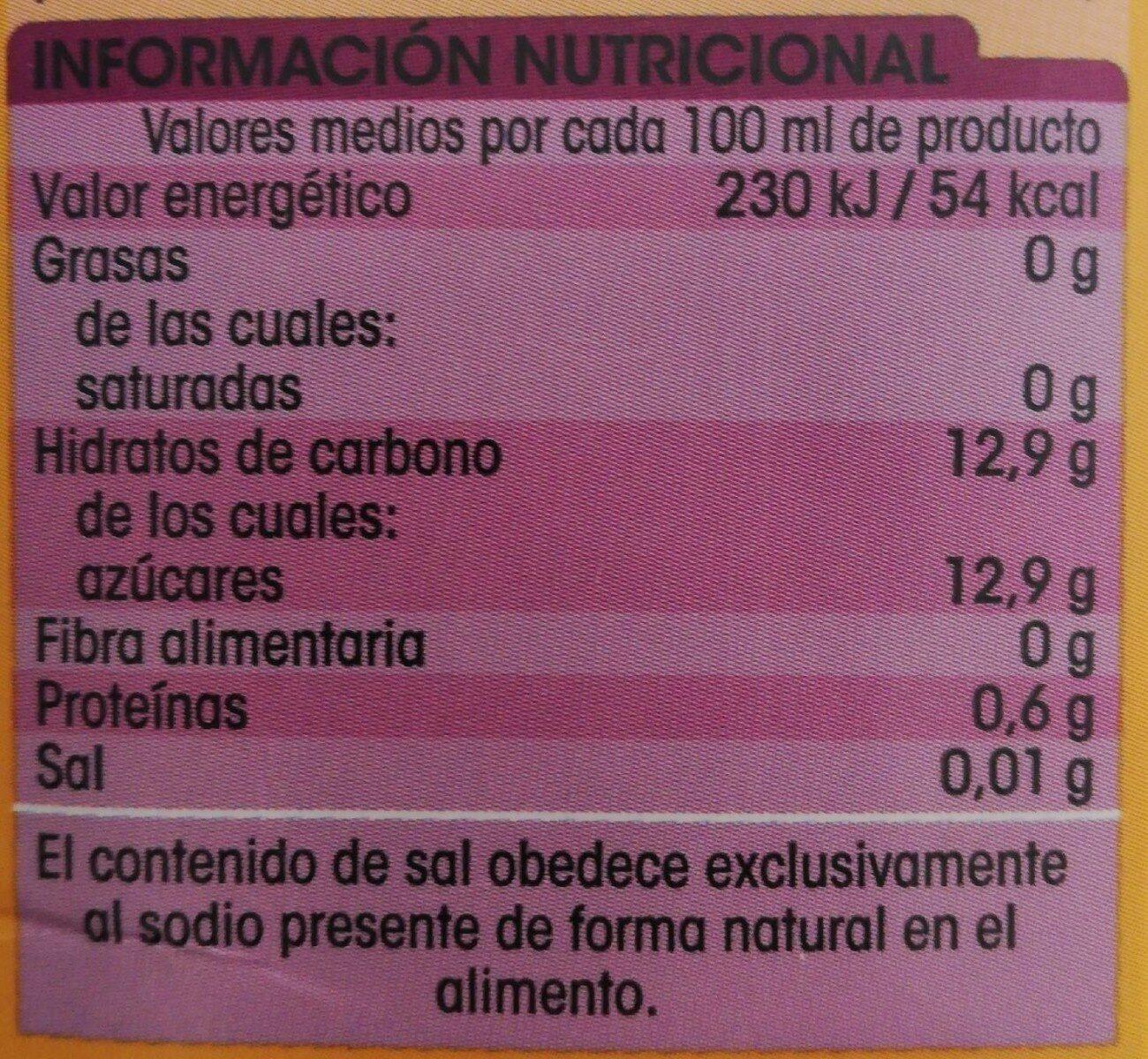 Zumo de piña y uva - Información nutricional - es