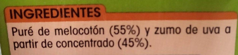 zumo de melocotón y uva - Ingredientes