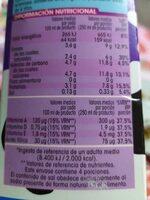 Leche entera sin lactosa - Informació nutricional