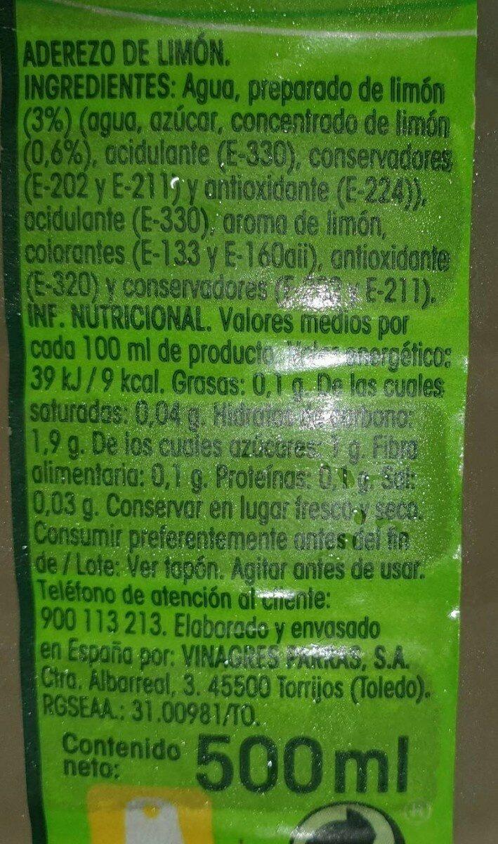 Agrio de limón - Informació nutricional
