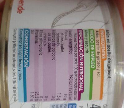 Atun en aceite de girasol - Nutrition facts