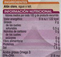 Atún claro al natural - Información nutricional - es