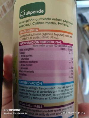 Champiñon entero primera - Nutrition facts - es