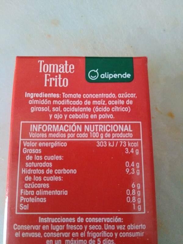 Tomate frito - Informació nutricional - es