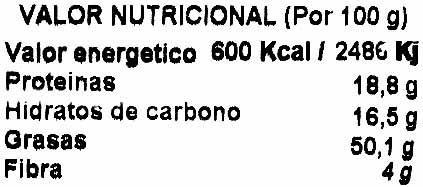 Almendras tostadas con sal Variedad Largueta - Informations nutritionnelles - es