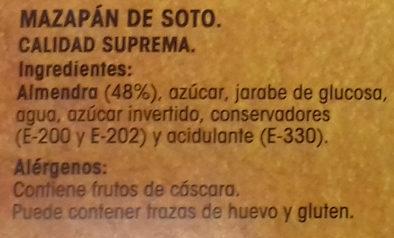 Mazapán de Soto - Ingredients - es