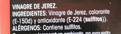 Vinagre de Jerez - Nutrition facts - es
