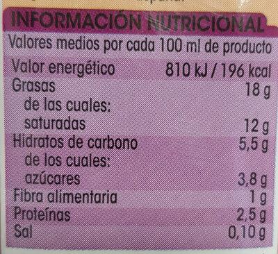 Nata ligera para cocinar - Nutrition facts