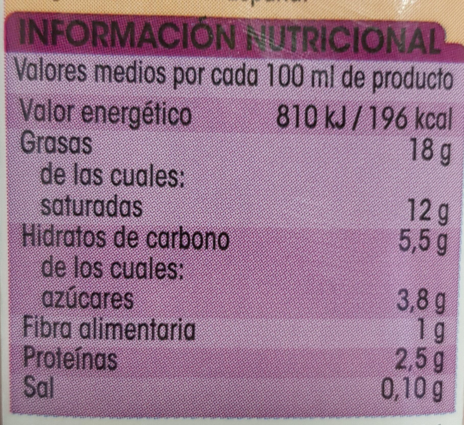 Nata ligera para cocinar - Informação nutricional