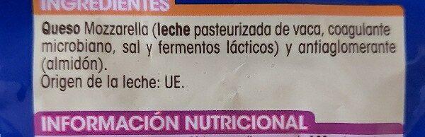 Queso mozzarella rallada - Ingredients - es