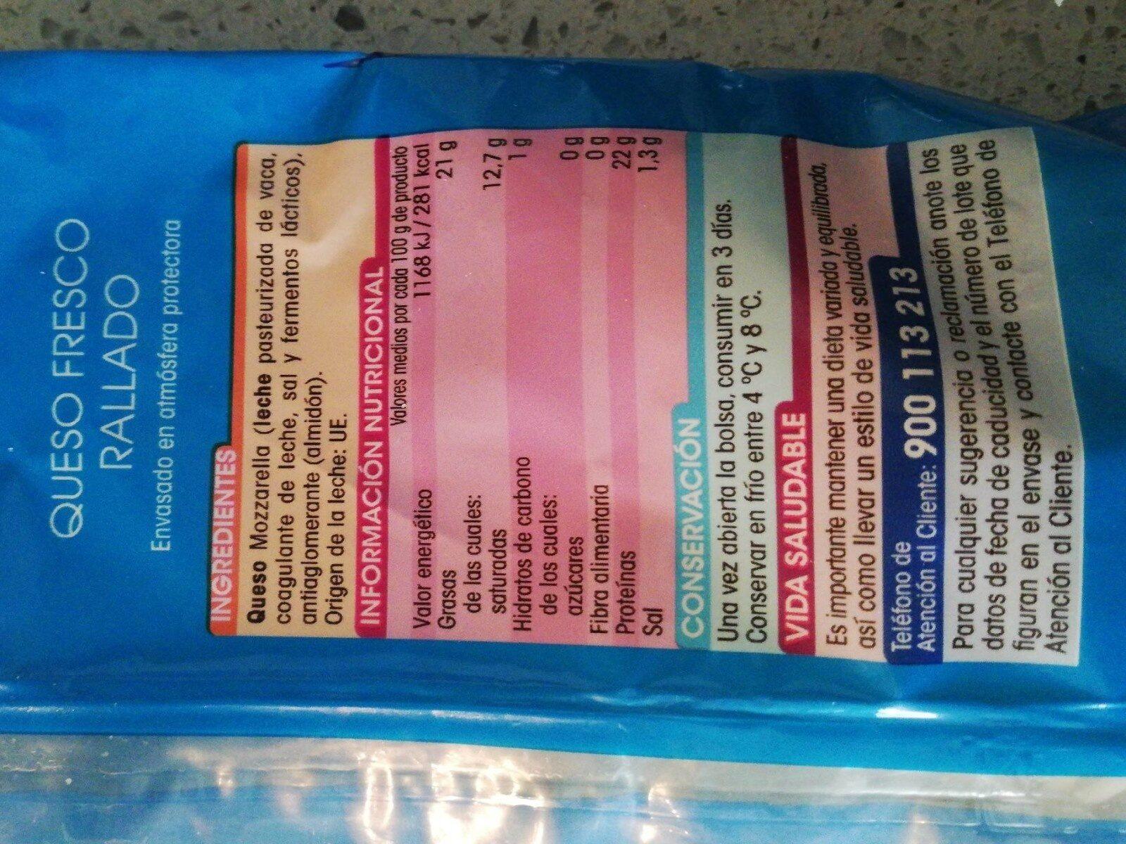 Queso mozzarella rallada - Informació nutricional - es