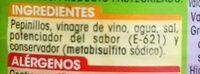 Pepinillos sabor Anchoa Extra - Ingredients