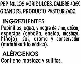 Pepinillos encurtidos agridulces - Ingredientes