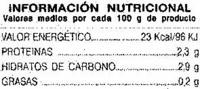 Apio en tiras - Información nutricional