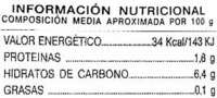 Zanahoria en tira Primera - Información nutricional - es