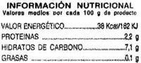 Remolacha en tiras - Informations nutritionnelles - es