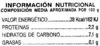 Remolacha en rodajas Primera - Información nutricional