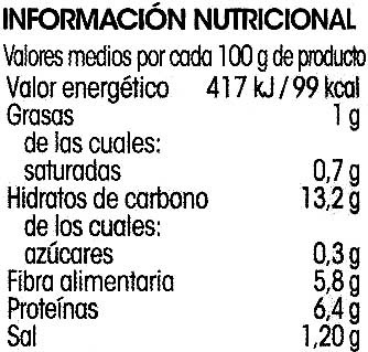 Lenteja extra - Información nutricional