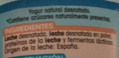 Yogurt Natural 0% 0% - Ingredientes