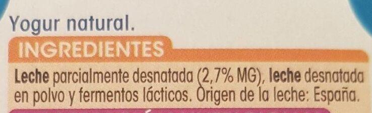Yogur natural - Ingredients